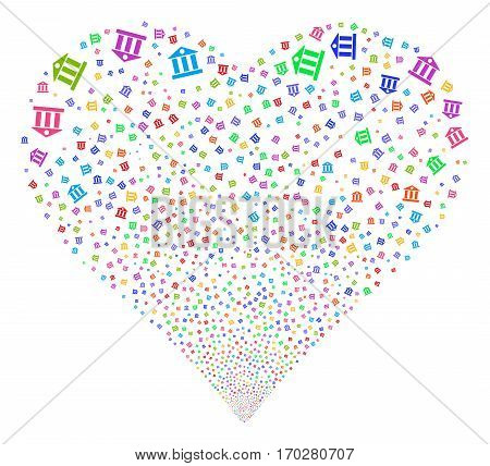 Bank Building fireworks with heart shape. Vector illustration style is flat bright multicolored iconic symbols on a white background. Object valentine heart organized from random symbols.