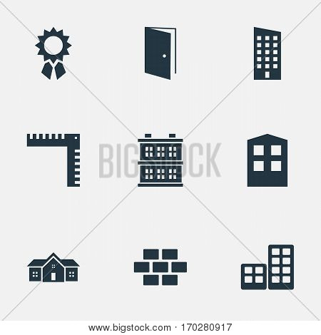 Set Of 9 Simple Construction Icons. Can Be Found Such Elements As Stone, Block, Flat And Other.