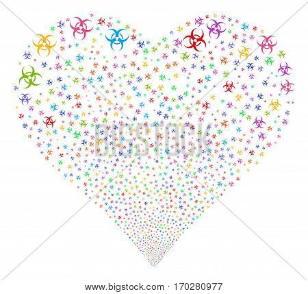 Biohazard fireworks with heart shape. Vector illustration style is flat bright multicolored iconic symbols on a white background. Object love heart organized from random pictographs.
