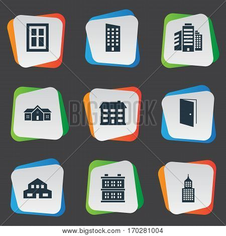 Set Of 9 Simple Structure Icons. Can Be Found Such Elements As Floor, School, Superstructure And Other.