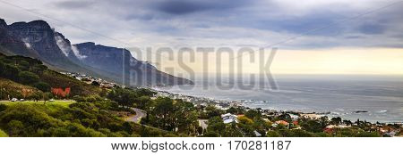 Panoramic view of Camps Bay in Cape Town, South Africa