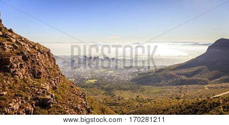 View of Cape Town in morning fog from Platteklip Gorge on Table Mountain