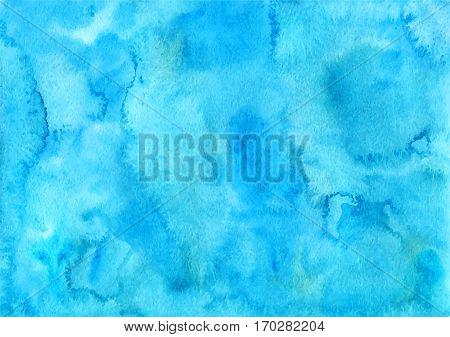 Handpainted bright sky blue watercolor textured backgrounds.