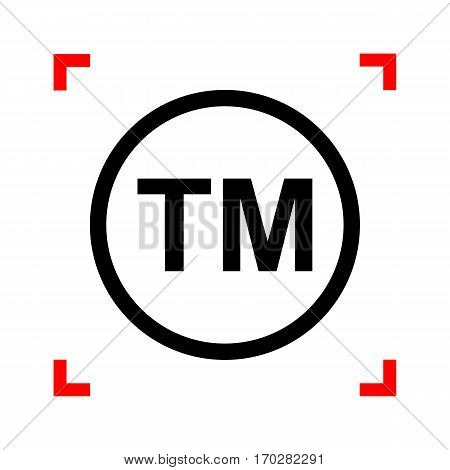 Trade mark sign. Black icon in focus corners on white background. Isolated.