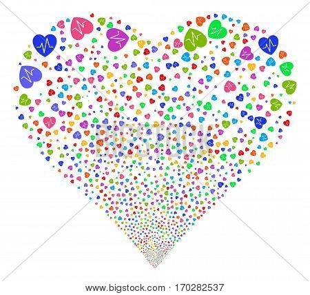 Cardiology fireworks with heart shape. Vector illustration style is flat bright multicolored iconic symbols on a white background. Object valentine heart combined from random pictograms.