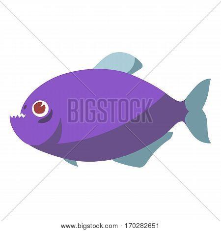 Cartoon isolated pirahna fish logo. flat style vector illustration.