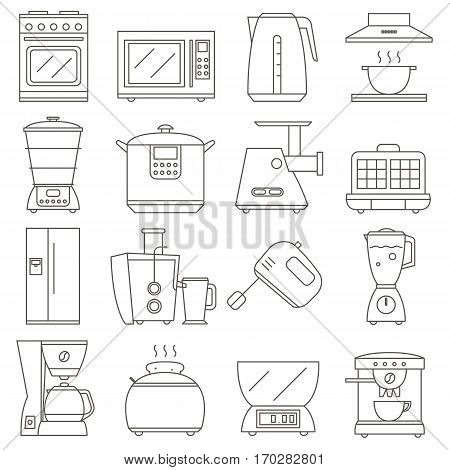 big set of line icon of electrical kitchen appliances isolated on white background, vector flat design appliances group. vector home kitchen icon.