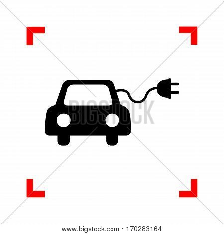 Eco electric car sign. Black icon in focus corners on white background. Isolated.