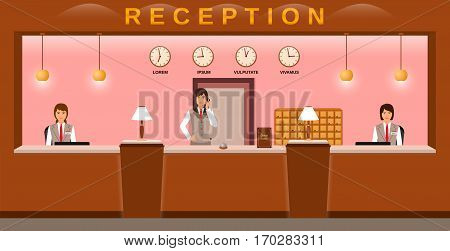 Hotel reception service. Hotel employees welcome guests on their workplace. Business office receptionists. Flat vector illustration.