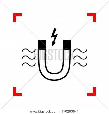 Magnet with magnetic force indication. Black icon in focus corners on white background. Isolated.