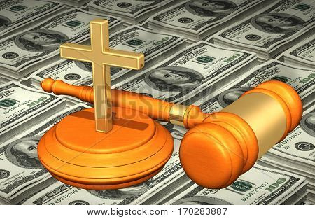 Christianity Law Gavel Concept 3D Illustration