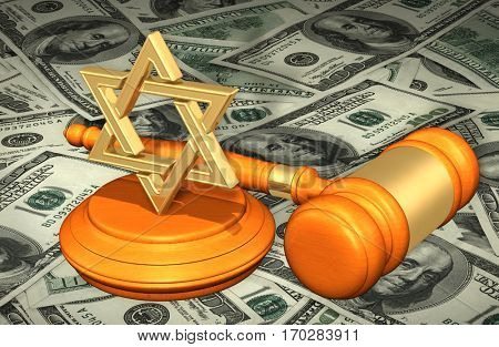 Judaism Law Gavel Concept 3D Illustration