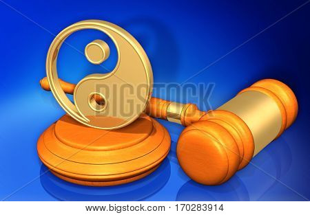 Taoism Law Gavel Concept 3D Illustration