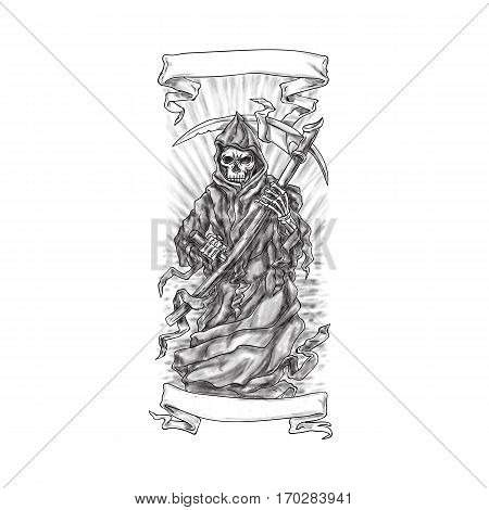 Tattoo style illustration of the grim reaper holding scythe viewed from front with scroll ribbon set on isolated white background.