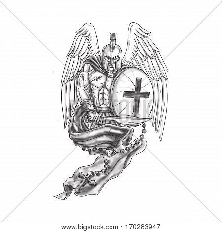 Tattoo style illustration of a wounded spartan warrior angel wearing helmet holding sword and shield draped with rosary viewed from front set on isolated white background.