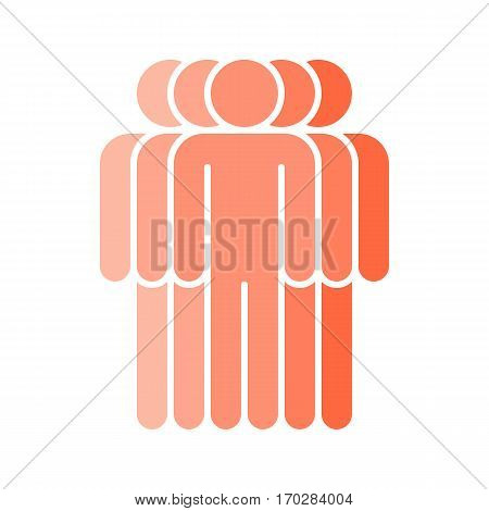 Use it in all your designs. Logotype in the form of five people standing with hands down painted in shades of red color. Quick and easy recolorable graphic element in technique vector illustration