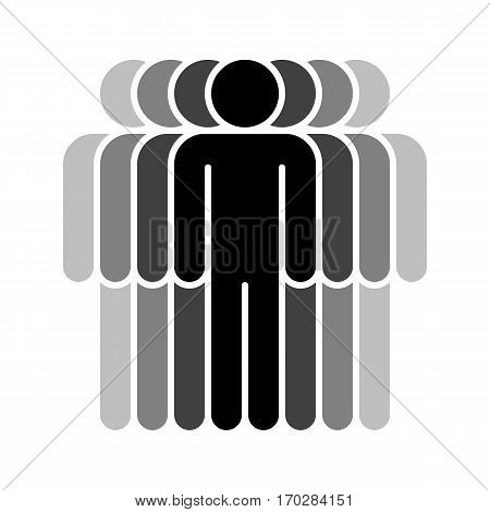 Use it in all your designs. Logotype in the form of seven people standing with hands down painted in shades of black color. Quick and easy recolorable graphic element in technique vector illustration