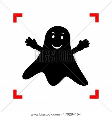 Ghost isolated sign. Black icon in focus corners on white background. Isolated.