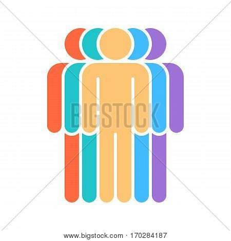 Use it in all your designs. Logotype in the form of five people standing painted in red, green, yellow, blue, violet colors. Quick and easy recolorable graphic element in technique vector illustration