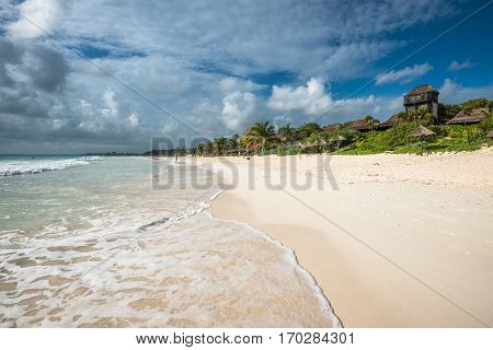 Caribbean beach panorama Tulum Yucatan peninsular Mexico