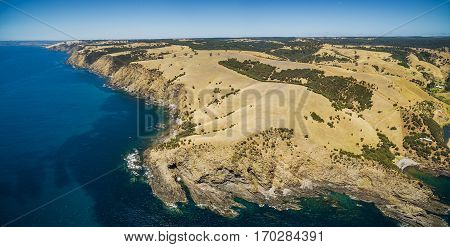 Aerial Panorama Of North Coast Of Kangaroo Island, South Australia. Great Australian Bight, Ocean An