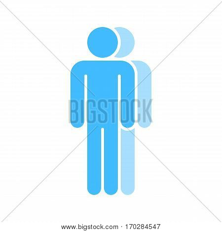 Use it in all your designs. Logotype in the form of two people standing with hands down painted in shades of blue color. Quick and easy recolorable graphic element in technique vector illustration