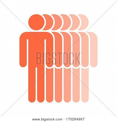 Use it in all your designs. Logotype in the form of six people standing with hands down painted in shades of red color. Quick and easy recolorable graphic element in technique vector illustration