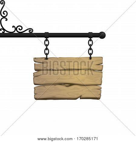 Vintage side signboard on chains. vector illustration