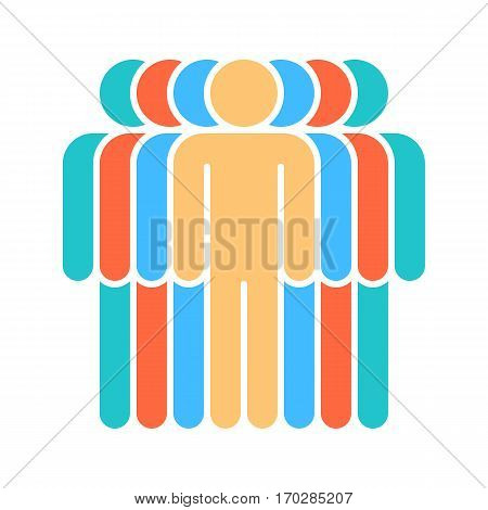 Use it in all your designs. Logotype in the form of seven people standing painted in green, red, blue, yellow colors. Quick and easy recolorable graphic element in technique vector illustration