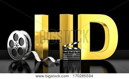 cinema hd concept 3d rendering image