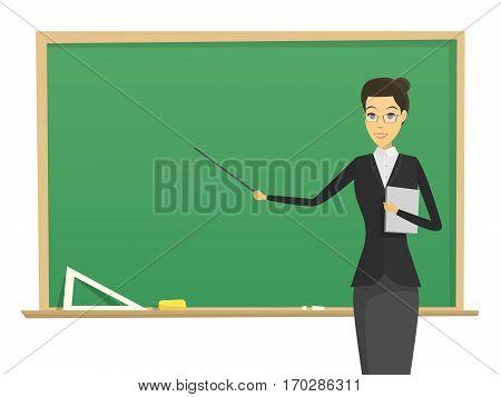 cartoon male teacher with blackboard. mini concept. school man teacher modern flat vector design. learning illustration.