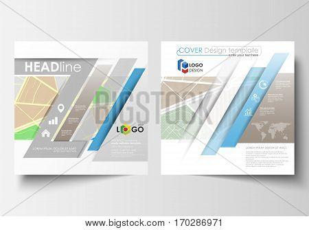Business templates for square design brochure, magazine, flyer, booklet or annual report. Leaflet cover, abstract flat layout, easy editable blank. City map with streets. Flat design template for tourism businesses, abstract vector illustration.