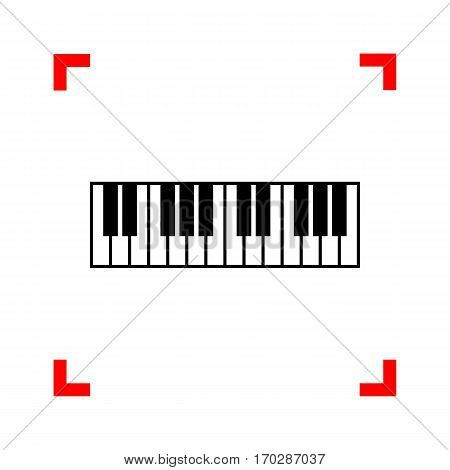 Piano Keyboard sign. Black icon in focus corners on white background. Isolated.