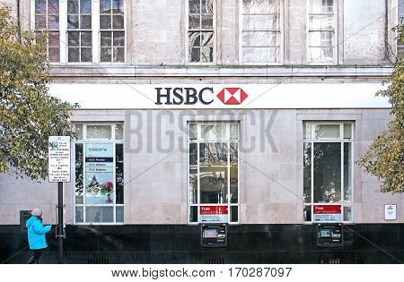 LONDON UK - March 27: HSBC bank branch on Queensway West end in London UK - March 27 2016; HSBC Holdings PLC is a British multinational banking and financial services holding company headquartered in London.