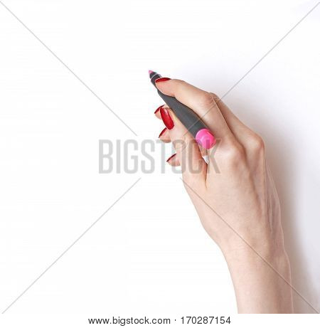 Female hand writing with pink marker on white blank paper