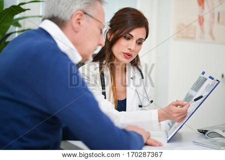 Doctor showing an examination report to her patient