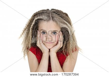 Portrait of girl with head in hands over white background