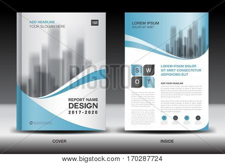 Annual report brochure flyer template, Blue cover design, business flyer template, book, magazine ads, booklet,catalog