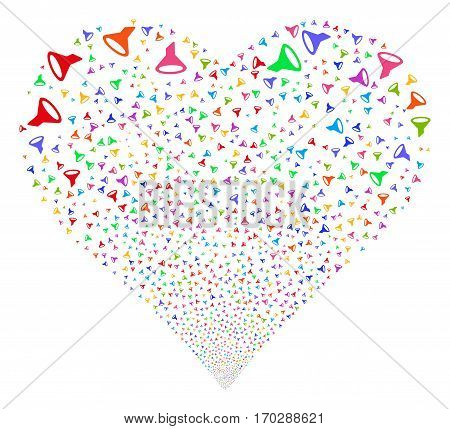 Filter fireworks with heart shape. Vector illustration style is flat bright multicolored iconic symbols on a white background. Object valentine heart made from scattered design elements.