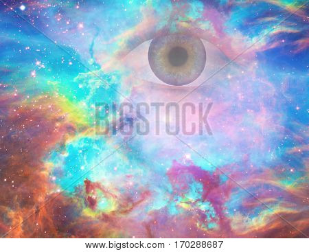 God's eye in vivid universe.  3D Render   Some elements provided courtesy of NASA