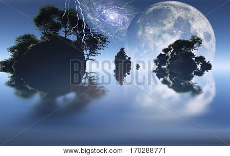 Small islands with green trees. Big moon rising.  3D Render   Some elements provided courtesy of NASA