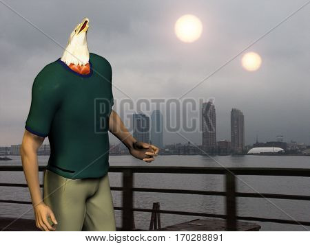 Man with eagle head. Two suns above city.  3D Render   Some elements provided courtesy of NASA