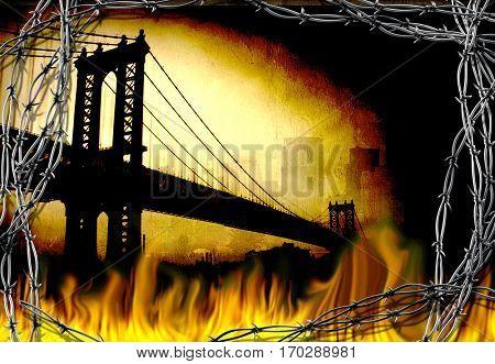 Manhattan bridge. Fire and barbwire.  3D Render