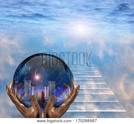 Crystal ball with temple and monk inside. Figure of man walks to the light.  3D Render   Some elements provided courtesy of NASA