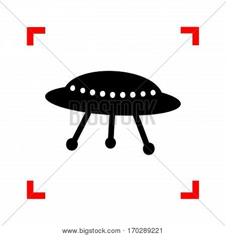 UFO simple sign. Black icon in focus corners on white background. Isolated.