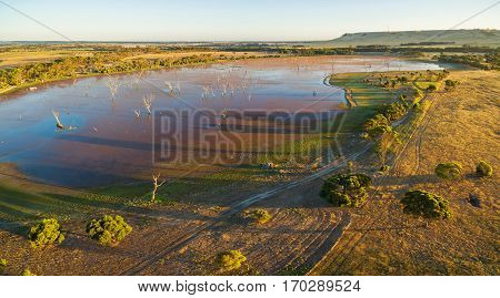 Discovery Lagoon At Sunset Aerial View. Kangaroo Island, South Australia.