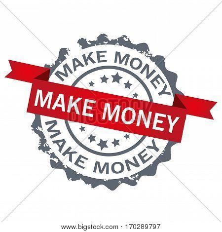 Make money stamp.Sign.Logo design vector isolated on white background