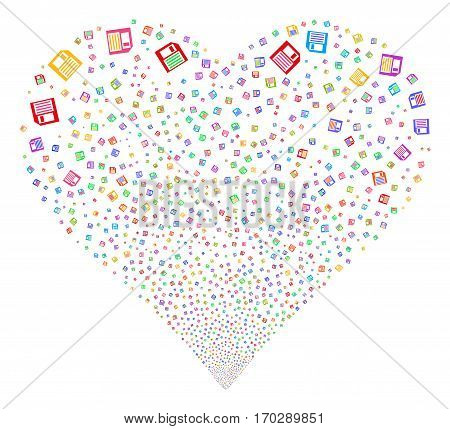 Floppy Disk fireworks with heart shape. Vector illustration style is flat bright multicolored iconic symbols on a white background. Object salute made from scattered pictographs.