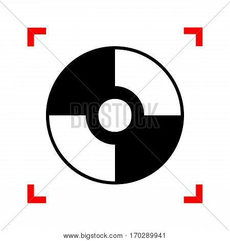 Vector CD or DVD sign. Black icon in focus corners on white background. Isolated.