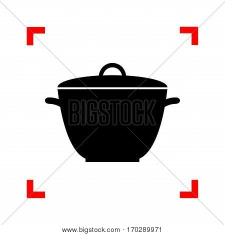 Saucepan simple sign. Black icon in focus corners on white background. Isolated.